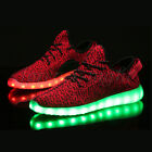Unisex 7 color LED Light Lace Up Luminous Sneaker Shoes USB rechargeable Red