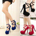 Womens Fashion Round Toe High Heels Stiletto Pumps Party Suede Ankle Strap Shoes