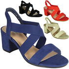 New Womens Ladies Elastic Strappy Mid Heel Faux Suede Party Sandals Shoes Size