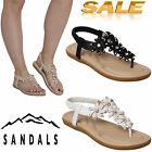 WOMENS LADIES FLAT GLADIATOR ANKLE STRAP FLIP FLOP SUMMER SANDALS EVENING SHOES