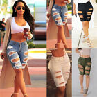 UK Womens Ripped Frayed Stretch Ladies Beach Denim Jeans Shorts Hotpants 6-18