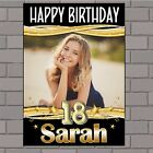 Personalised Black & Gold Sparkle Happy Birthday Poster Banner N138 ANY AGE