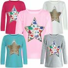 Kinder Mädchen Wende Pailletten Lang Shirt Bluse Langarm Sweat Shirt Mini 21073