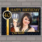 Personalised Black & Gold Diamonds Happy Birthday Poster Banner N143 ANY AGE