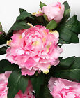 SALES Green Fuchsia cream Peony spray 83cm long 2 flowers +1 bud artificial silk