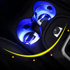 Solar Cup Holder Bottom Pad LED Light Cover Trim Atmosphere Lamp For All car !