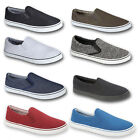 Mens Slip On Pumps Canvas Casual Designer Shoes Trainer Plimsoles 7 8 9 10 11 12