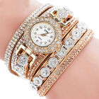 Fashion Women's Rhinestone Crystal Leather Wrap Bracelet Wrist Watch