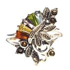 MULTI STONES RING Amethyst Topaz Marcasite .925 STERLING SILVER (Size 6,7,8)