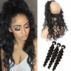 Brazilian Deep Wave 3Bundles/150g Human Hair  with 360 Lace Frontal Closure