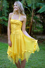 Burlesque Pin-up Girl Yellow Lace-Up Corset Tulle Satin Rockabilly Dress S 8 10
