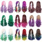 New Fashion Women's Long Curly Wavy Anime Cosplay Party Wigs Gradient Mix-Colors