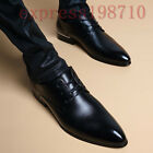 British Mens Lace Up Dress Formal Leather Shoes Vogue Pointed Toe Business Shoes
