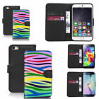 faux leather wallet case for many Mobile phones - rainbow zebra