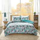 ULTRA SOFT PLUSH REVERSIBLE AQUA TEAL BLUE GREY CHEVRON STRIPE COMFORTER SET image