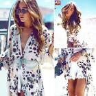 New Women Kimono Jacket Chiffon Cardigan Long Top Blouse Beach Cover Up Dress US