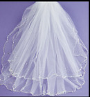 GIRLS WHITE FIRST HOLY COMMUNION SEQUINS VEIL FRAZER & JAMES OF KNIGHTSBRIDGE