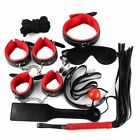 9Pcs Bed Set Kit Collar Whip Ball Gag Cuffs Kinky Restraint BDSM Adult Sex Toy
