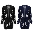 High Quality Collarless Long Sleeve Star Print Knitted Women Ladies Cardigan HOT
