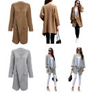 Women Winter Turn Down Collar Knitted Cardigan Ladies Knitwear Coat with Pockets