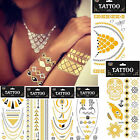 10 Sheets Silver/Gold Jewel Inspired Metallic Temporary Tattoo Flash Stickers