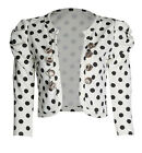 New Womens Ladies Ruched Sleeve Polka Dot Military Style Shrug Bolero Crop Top