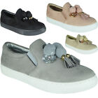 Womens Ladies Trainers Faux Suede Pom Pom Slip On Flat Sneakers Pumps Shoes Size