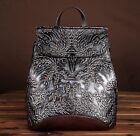 New Women Genuine Leather Backpack Travel Bag Embossed cow leather Purse S