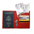 FancyStyle Women RFID Blocking Passport Wallet Ticket Holder Real Leather Red