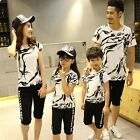 Summer 2017 Parent child outfits Graffiti family sets sports T shirts + Shorts