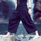 Men Black Loose Fit Ethnic Samurai Palazzo Wide Leg Strap Crop Pants Trousers