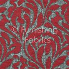 Quality Woven Red Brown Colour Floral Flame Pattern Chenille Upholstery Fabrics