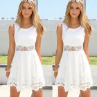 Summer Women Dress Sleeveless Beach Boho Lace Dress Evening Party Mini Dress New