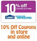 (3) Three Lowe's 10% Off Printable-Coupons - Exp 4 30 17 - Fast Email Delivery!