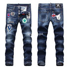 New Mens Italy Style Vintage Badge Patches Slim Pants Blue JEANS Trousers D1858T