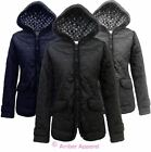 NEW LADIES FITTED WOMENS QUILTED HOODED PADDED ZIP JACKET COAT TOP 8-14
