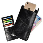 Stylish Men Long Phone Credit Card Wallet Oil Wax Leather Vintage 5 Colors
