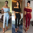 Women Off Shoulder Sleeveless Ruffled Top and Pants Two Piece Lounge Wear Set