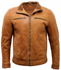 Men's Tan Retro 100% Nappa Leather Biker Jacket