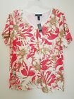 KAREN SCOTT PLUS SIZE WOMEN'S FLORAL TOP V- NECK SHORT SLEEVES 1X, 2X NWT