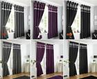 Lined Curtains Eyelet Ring Or Pencil Pleat Tape Top - Plum Black Charcoal Grey