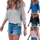 New Fashion Women Casual V-Neck Long Sleeve T Shirt Loose Tops Blouse Tee-Tops