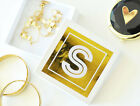 6 Bridesmaid White Gold Monogram Wedding Jewelry Gift Boxes Favors Gifts Q47105