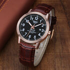 Classic Men's Leather Band Stainless Steel Date Analog Quartz Sport Wrist WatchWristwatches - 31387