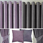Luxury Chenille Lined Ring Top Eyelet Curtains Pewter Grey OR Mauve - Reduced