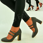 Womens Ladies Mid High Block Heel Mary Jane Pumps Ankle Strap Shoes Size Uk 3-8