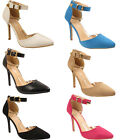 WOMENS STILETTO HEEL ANKLE STRAP LADIES EVENING COURT PARTY DRESS SANDALS SHOES