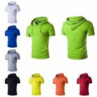 Fashion MEN'S Solid hooded Hoodie Short Sleeve Casual T-Shirt Tops With Pocket