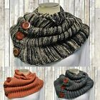 Winter Scarf Infinity Button Heavy Blanket Womens Mens Sweater Warm Scarves