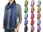 Solid Shiny Candy Color Fringe Cotton Silk Scarf Wrap Shawl Classic Fashion